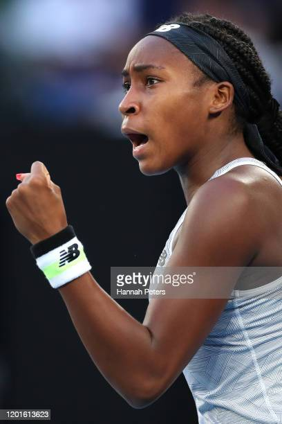 Coco Gauff of the United States celebrates after winning a point during her Women's Singles third round match against Naomi Osaka of Japan day five...