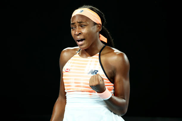 Coco Gauff of the United States celebrates after winning a point in her Women's Singles second round match against Elina Svitolina of Ukraine during...