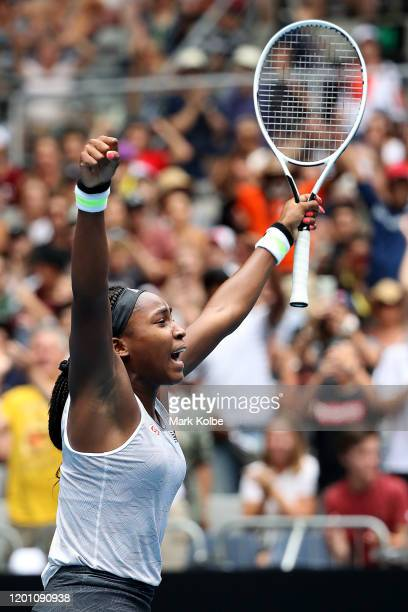 Coco Gauff of the United States celebrates after winning match point during her Women's Singles second round match against Sorana Cirstea of Romania...