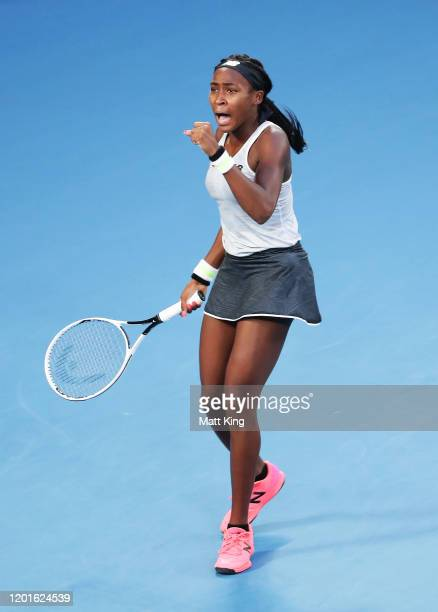 Coco Gauff of the United States celebrates after winning match point during her Women's Singles third round match against Naomi Osaka of Japan on day...