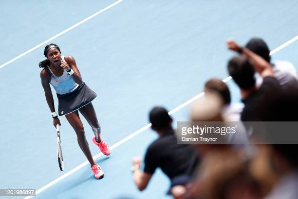 Coco Gauff of the United States celebrates after winning set point during her Women's Singles fourth round match against Sofia Kenin of the United...