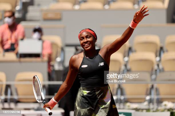 Coco Gauff of The United States celebrates victory in their ladies singles fourth round match against Ons Jabeur of Tunisia during day nine of the...