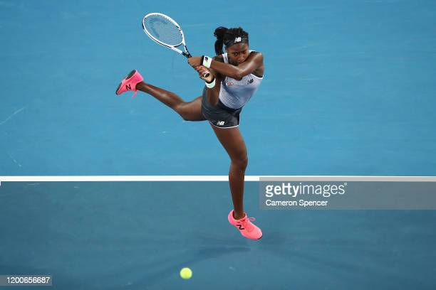 Coco Gauff of the United States of America plays a backhand during her Women's Singles first round match against Venus Williams of the United States...