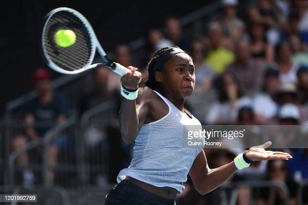 Coco Gauff of the United States plays a forehand during her Women's Singles fourth round match against Sofia Kenin of the United States on day seven...