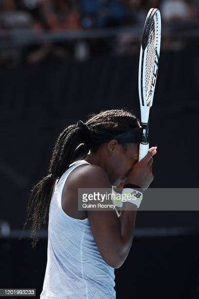 Coco Gauff of the United States reacts during her Women's Singles fourth round match against Sofia Kenin of the United States on day seven of the...