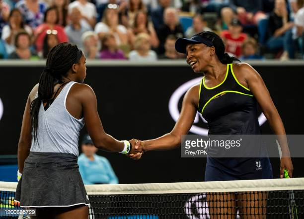 MELBOURNE AUSTRALIA JANUARY 20 Coco Gauff of the United States shakes hands with Venus Williams of the United States after beating her in the first...