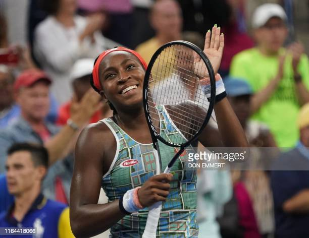 Coco Gauff of the US celebrates her win over Anastasia Potapova of Russia during their first round match of the women's 2019 US Open tennis...