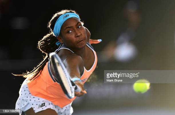 Coco Gauff of the USA reaches for a backhand against Belinda Bencic of Switzerland during day five of the Adelaide International WTA 500 at Memorial...