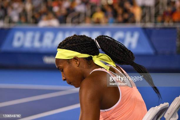 Coco Gauff rests in between sets during the Delray Beach Open Exhibition at the Delray Beach Stadium Tennis Center on February 15 2020 in Delray...