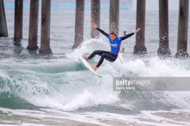 Coco Ho of Hawaii surfing in Heat 1 of the Semifinals at the US Open of Surfing Huntington Beach presented by Shiseido on September 26, 2021 at...