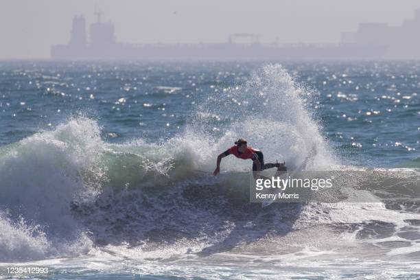 Coco Ho of Hawaii surfs in Heat 1 of the Round of 64 at the US Open of Surfing Huntington Beach presented by Shiseido on September 21, 2021 at...
