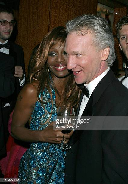 Coco Johnsen and Bill Maher during 2003 Tony Awards Matrix Hosts Hairspray After Party at Bryant Park Grill in New York City New York United States