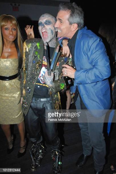 Coco Johnsen Rick Genest and Guest attend BETSEY JOHNSON Spring 2013 Show Birthday Bash at Escape on September 11 2012 in New York