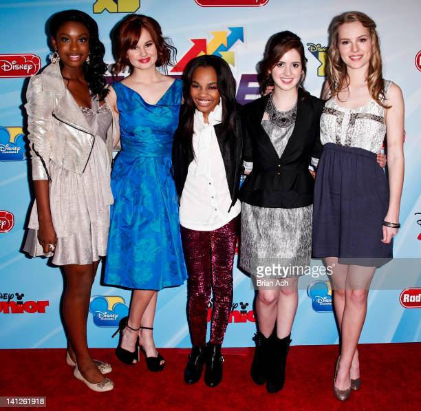 Coco Jones, Debby Ryan, China Anne McClain, Laura Marano, and Bridgit Mendler attend the 2012-13 Disney Channel Worldwide Kids Upfront at the Hard...