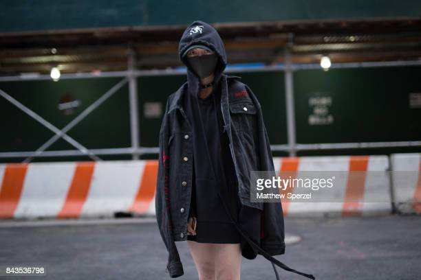 Coco Kao is seen attending VFILES during New York Fashion Week wearing a Inxx coat on September 6 2017 in New York City