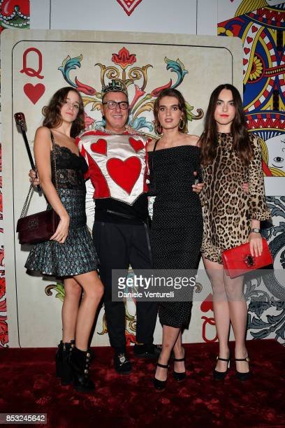 Coco Konig Stefano Gabbana Mackinley Hill and Melusine Ruspoli attends Dolce Gabbana Queen Of Hearts Party show during Milan Fashion Week...