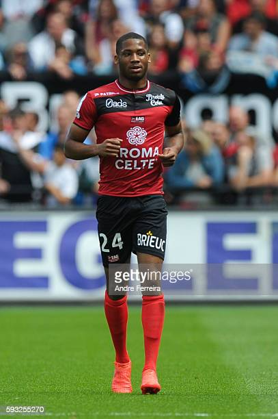 Coco Marcus of Guingamp during the Ligue 1 match between EA Guingamp and Olympique de Marseille at Stade du Roudourou on August 21 2016 in Guingamp...