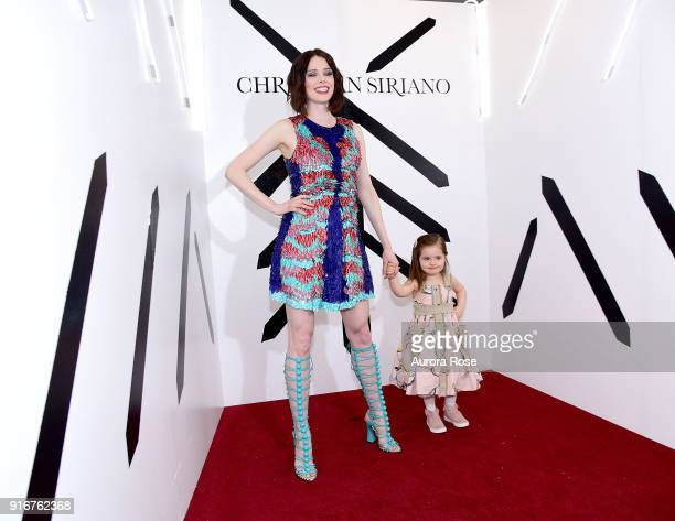 Coco Rocha and daughter Ioni Conran pose backstage at the Christian Siriano show at The Grand Lodge on February 10 2018 in New York City
