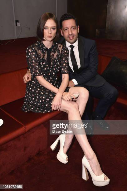 Coco Rocha and her husband James Conran pose in the Etihad lounge during New York Fashion Week The Shows 2018 at Spring Studios on September 10 2018...