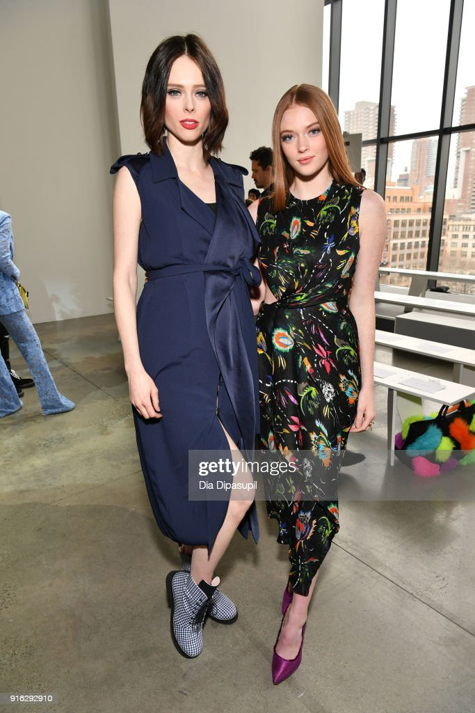 Coco Rocha and Larsen Thompson attend the Jason Wu front row during New York Fashion Week: The Shows at Gallery I at Spring Studios on February 9, 2018 in New York City.