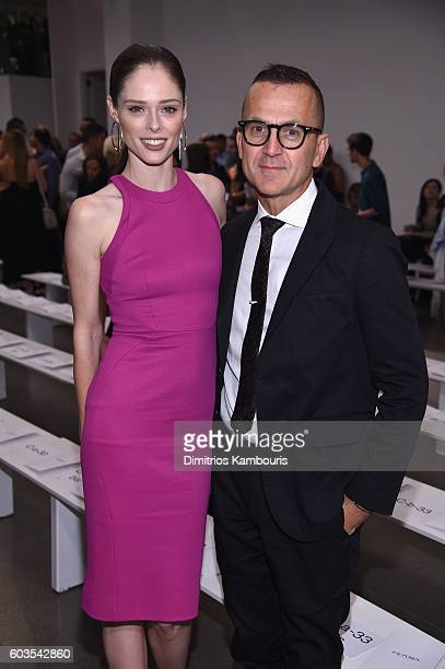 Coco Rocha and Steven Kolb attends the Zac Posen fashion show during New York Fashion Week September 2016 at Spring Studios on September 12 2016 in...