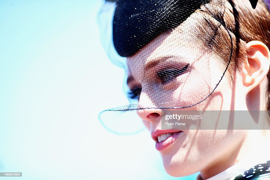 Coco Rocha arrives during Melbourne Cup Day at Flemington Racecourse on November 5, 2013 in Melbourne, Australia.