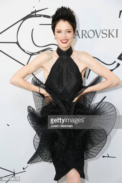 Coco Rocha attends the Iris Van Herpen X Swarovski Cocktail Haute Couture Fall/Winter 20172018 show as part of Haute Couture Paris Fashion Week on...