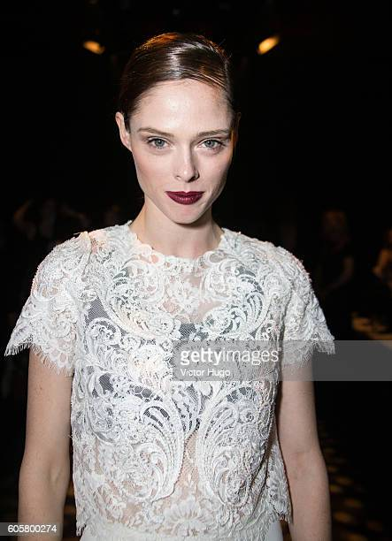 Coco Rocha attends the Marchesa show during September 2016 New York Fashion Week at The Dock, Skylight at Moynihan Station on September 14, 2016 in...