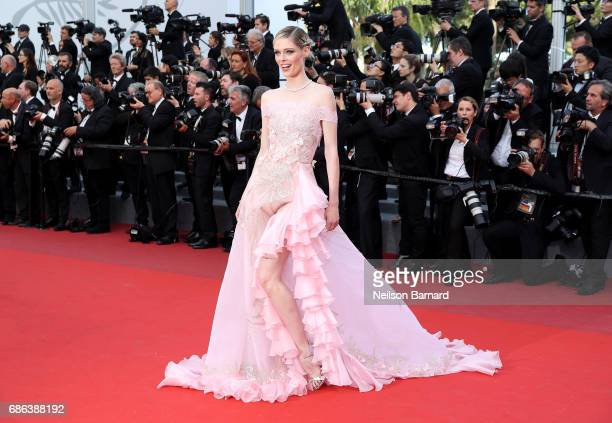 Coco Rocha attends the 'The Meyerowitz Stories' screening during the 70th annual Cannes Film Festival at Palais des Festivals on May 21 2017 in...