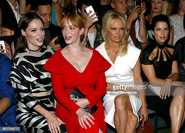 Coco Rocha Christina Hendricks Pamela Anderson Neve Campbell attend the Christian Siriano fashion show during New York Fashion Week September 2016 at...