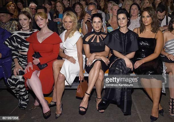 Coco Rocha, Christina Hendricks, Pamela Anderson, Neve Campbell, Jaimie Alexander and Ashley Graham attend the Christian Siriano fashion show during...