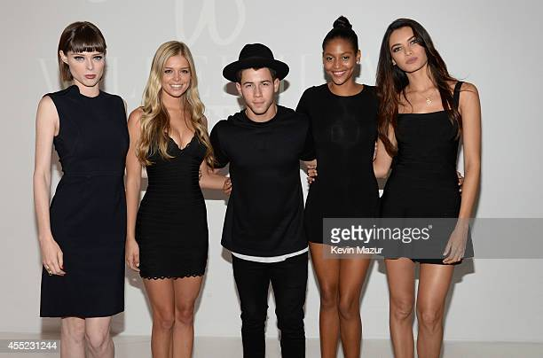 Coco Rocha Danielle Knudson Nick Jonas Cindy Bruna and Angela Ruiz attend Wilhelmina Models Fashion Week Party at Location 5 on September 10 2014 in...