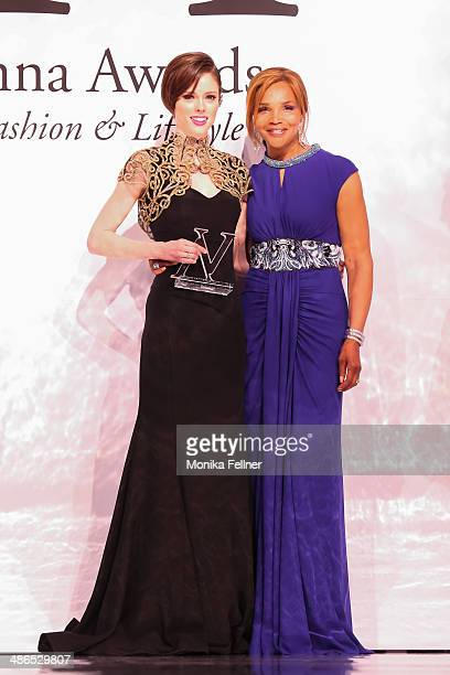 Coco Rocha gets an award for 2Style Icon' from Valerie Campbell at the Vienna Awards 2014 at MAK Museum fuer angewandte Kunst on April 24 2014 in...