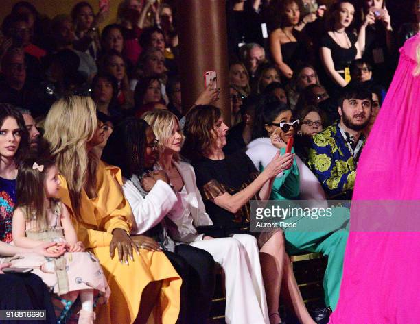 Coco Rocha Ioni Conran Laverne Cox Meg Ryan Molly Shannon Cardi B and Brad Walsh watch the Fall/Winter 2019 Christian Siriano Runway show at The...