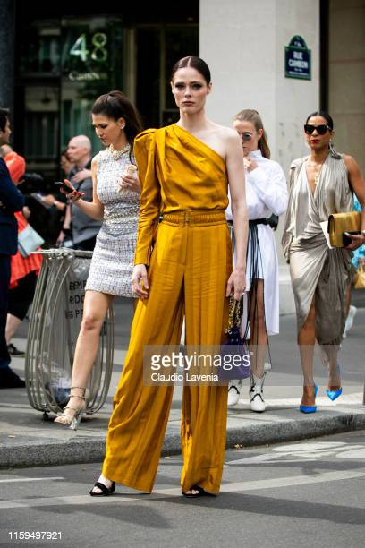 Coco Rocha is seen outside Schiaparelli show during Paris Fashion Week - Haute Couture Fall Winter 2019 - 2020 on July 01, 2019 in Paris, France.