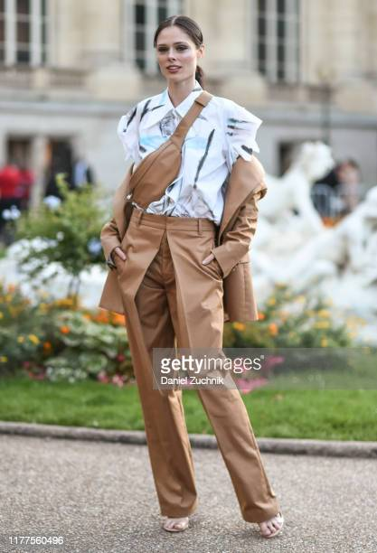 Coco Rocha is seen outside the Yohji Yamamoto show during Paris Fashion Week SS20 on September 27, 2019 in Paris, France.
