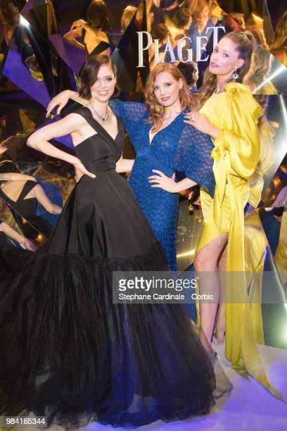 Coco Rocha Jessica Chastain and Doutzen Kroes attend the Piaget Sunlight Escape Paris 2018 High Jewellery Collection Party at Palais d'Iena on June...