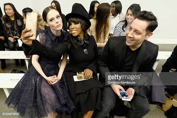 Coco Rocha June Ambrose and James Conran attend the Zac Posen Fall 2016 fashion show during New York Fashion Week at Spring Studios on February 15...