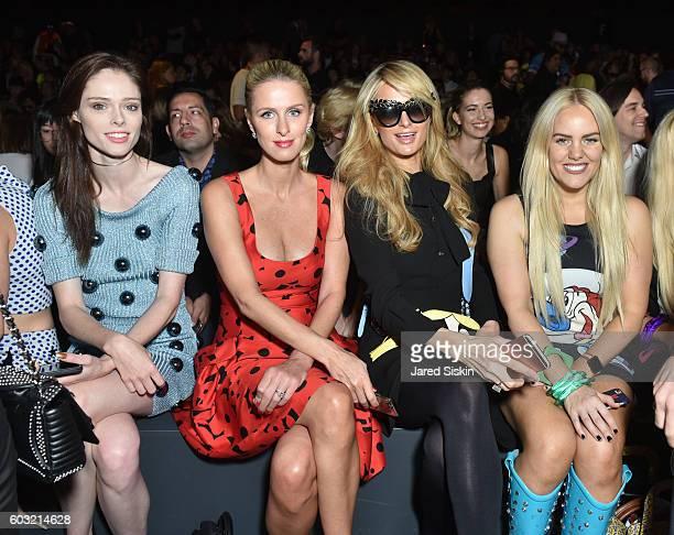 Coco Rocha, Nicky Hilton, Paris Hilton and Callianne Beckerman sit front row at Jeremy Scott - Front Row - September 2016 - New York Fashion Week:...