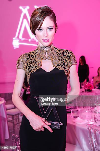 Coco Rocha poses with an award for Style Icon at the Vienna Awards 2014 at MAK Museum fuer angewandte Kunst on April 24 2014 in Vienna Austria