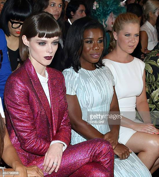 Coco Rocha Uzo Aduba and Amy Schumer attend the Christian Siriano fashion show during MercedesBenz Fashion Week Spring 2015 at Eyebeam on September 6...