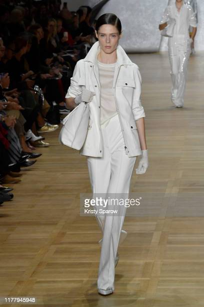 Coco Rocha walks the runway during the Akris Womenswear Spring/Summer 2020 show as part of Paris Fashion Week on September 29, 2019 in Paris, France.