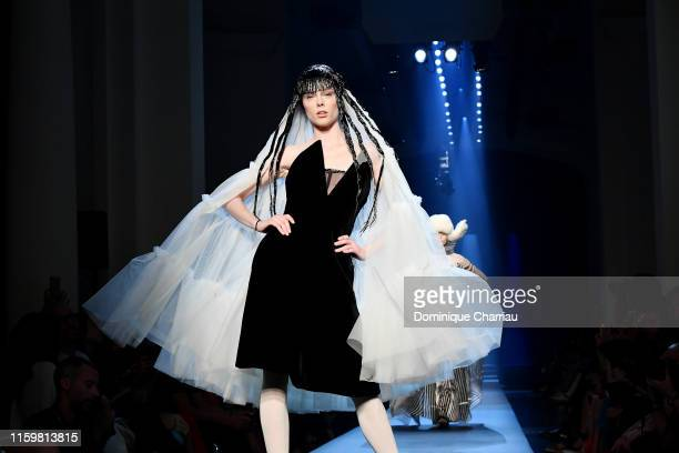 Coco Rocha walks the runway during the Jean Paul Gaultier Haute Couture Fall/Winter 2019 2020 show as part of Paris Fashion Week on July 03, 2019 in...