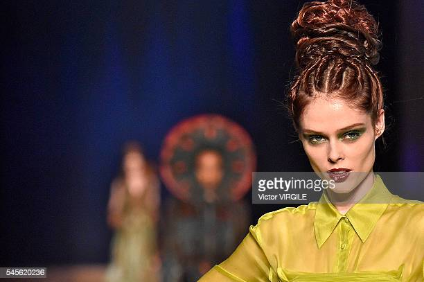 Coco Rocha walks the runway during the Jean Paul Gaultier Haute Couture Fall/Winter 20162017 show as part of Paris Fashion Week on July 6 2016 in...