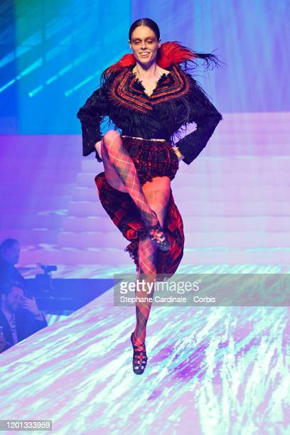 Coco Rocha walks the runway during the Jean-Paul Gaultier Haute Couture Spring/Summer 2020 show as part of Paris Fashion Week at Theatre Du Chatelet...