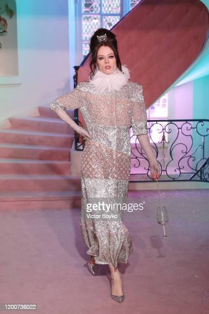 Coco Rocha walks the runway during the Ulyana Sergeenko Haute Couture Spring/Summer 2020 show as part of Paris Fashion Week on January 20 2020 in...