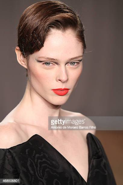Coco Rocha walks the runway during the Zac Posen fall 2014 fashion show on February 10 2014 in New York City