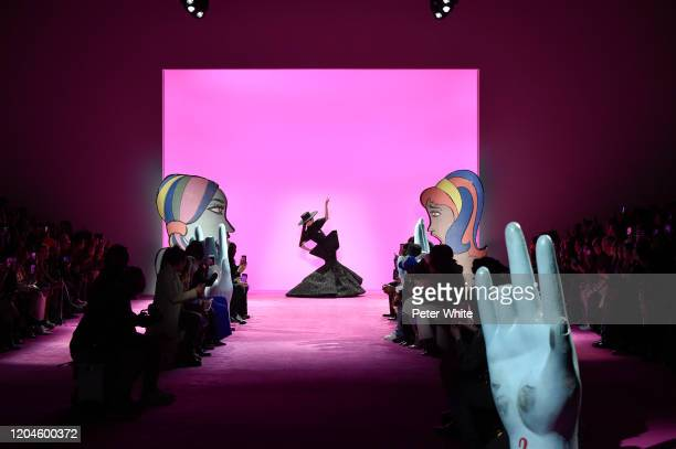 Coco Rocha walks the runway for the Christian Siriano AW 20 Fashion Show at Gallery I at Spring Studios on February 06 2020 in New York City