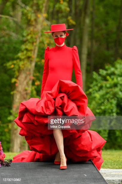Coco Rocha walks the runway for the Christian Siriano Collection 37 2020 Fashion Show on September 17 2020 in Westport Connecticut