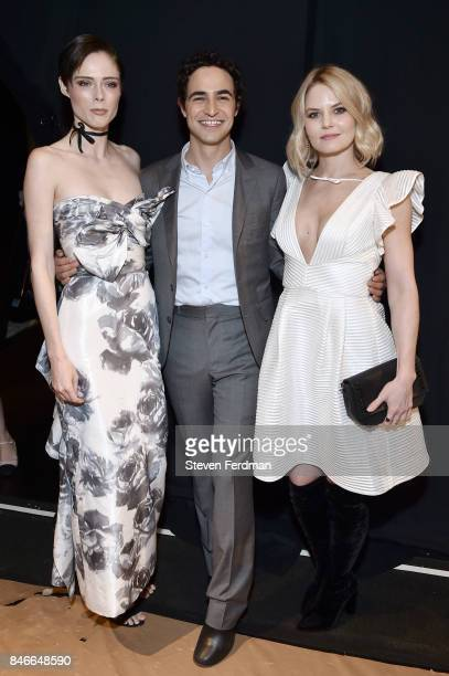 Coco Rocha Zac Posen and Jennifer Morrison backstage for the Marchesa fashion show during New York Fashion Week at Gallery 1 Skylight Clarkson Sq on...